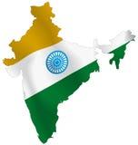 Mapa da bandeira de India Fotografia de Stock Royalty Free