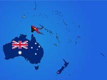 Mapa da bandeira de Oceania Fotos de Stock Royalty Free