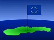 Mapa da bandeira de Slovakia e de UE Fotografia de Stock Royalty Free