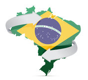 Mapa da bandeira do conceito em mudança das ideias de Brasil Fotos de Stock