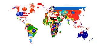 Mapa da bandeira do mundo isolado no branco Fotos de Stock