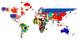 Mapa da bandeira do mundo isolado no branco Foto de Stock
