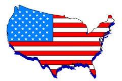 Mapa da bandeira dos EUA Fotografia de Stock Royalty Free