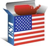 Mapa da bandeira dos EUA na caixa Imagens de Stock