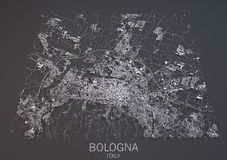 Mapa da Bolonha, Itália, vista satélite Fotos de Stock