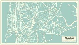 Mapa da cidade da Índia de Mumbai no estilo retro Ilustração preto e branco do vetor ilustração royalty free