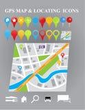 Mapa da cidade com ícones do GPS Imagens de Stock
