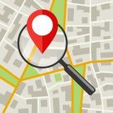 Mapa da cidade com lente de aumento Imagens de Stock Royalty Free
