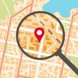 Mapa da cidade com lente de aumento e pinpoint Imagens de Stock Royalty Free