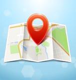 Mapa da cidade com marcador Fotografia de Stock Royalty Free
