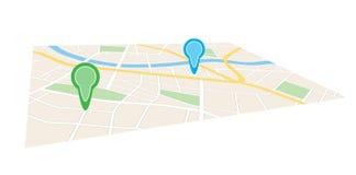 Mapa da cidade com os ponteiros na perspectiva - vetor Fotografia de Stock Royalty Free