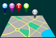 Mapa da cidade com pinos Imagens de Stock Royalty Free