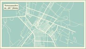 Mapa da cidade da Costa do Marfim de Yamoussoukro no estilo retro Ilustração preto e branco do vetor ilustração stock