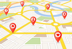 Mapa da cidade da perspectiva do vetor com marcadores Fotos de Stock