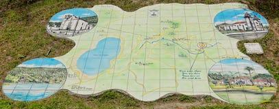Mapa da cidade de Furnas na ilha de San Miguel Foto de Stock Royalty Free