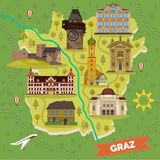 Mapa da cidade de Graz com marcos sightseeing ilustração stock