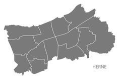 Mapa da cidade de Herne com forma cinzenta da silhueta da ilustração das cidades Foto de Stock Royalty Free