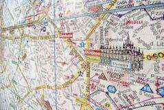 Mapa da cidade de Milão Fotos de Stock Royalty Free