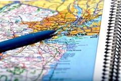 Mapa da cidade de New York para a condução do curso Fotografia de Stock