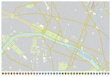 Mapa da cidade de Paris com ponteiros do pino e ícones da infraestrutura fotos de stock royalty free