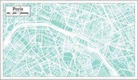 Mapa da cidade de Paris França no estilo retro Ilustração preto e branco do vetor ilustração stock