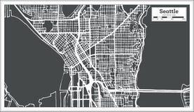 Mapa da cidade de Seattle EUA no estilo retro Ilustração preto e branco do vetor Imagens de Stock
