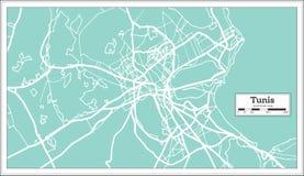 Mapa da cidade de Tunes Tunísia no estilo retro Ilustração preto e branco do vetor ilustração stock