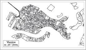 Mapa da cidade de Veneza Itália no estilo retro Ilustração preto e branco do vetor ilustração do vetor