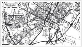 Mapa da cidade de Wilmington EUA no estilo retro Ilustração preto e branco do vetor ilustração do vetor