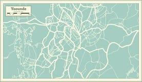 Mapa da cidade de Yaounde República dos Camarões no estilo retro Ilustração preto e branco do vetor ilustração royalty free
