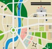 Mapa da cidade do aeroporto Foto de Stock Royalty Free