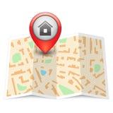 Mapa da cidade do vetor com pino da etiqueta ilustração stock