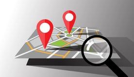 Mapa da cidade do vetor com pinos do lugar Fotos de Stock