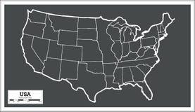 Mapa da cidade dos EUA no estilo retro Ilustração preto e branco do vetor Fotografia de Stock