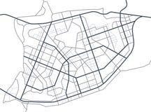 Mapa da cidade Linha esquema de estradas Ruas da cidade no plano Ambiente urbano, fundo arquitetónico Vetor Imagens de Stock