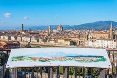 Mapa da cidade da cidade na plataforma de observação no Piazzale Michelangelo Florence Italy na opinião aérea da arquitetura da c imagem de stock