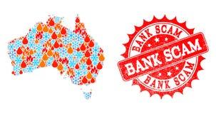 Mapa da colagem de Austrália da chama e dos flocos de neve e do selo riscado Scam do banco ilustração stock