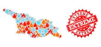 Mapa da colagem de Georgia Country da chama e os flocos de neve e selo extremo do Grunge ilustração do vetor