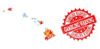 Mapa da colagem do estado de Havaí de selo de advertência do Grunge da chama e da neve e do jogo ilustração stock