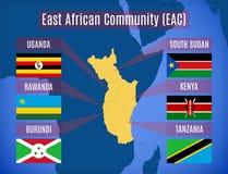 Mapa da comunidade africana do leste EAC ilustração royalty free