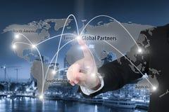 Mapa da conexão de relação de Irtual da parceria global Fotografia de Stock