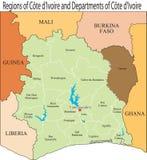 Mapa da Costa do Marfim. ilustração do vetor
