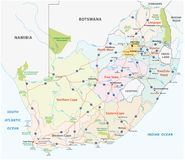Mapa da estrada de África do Sul, o administrativo e o político do vetor ilustração stock