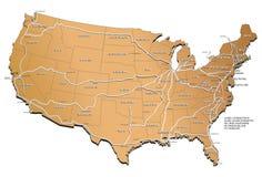 Mapa da estrada de ferro dos EUA ilustração royalty free