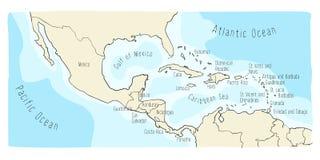 Mapa da garatuja de América Central e de México ilustração do vetor