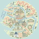 Mapa da garatuja de St Petersburg ilustração royalty free