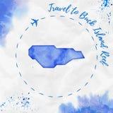 Mapa da ilha da aquarela de Buck Island Reef no azul ilustração royalty free
