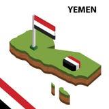 Mapa da informação e bandeira isométricos gráficos de IÉMEN ilustra??o isom?trica do vetor 3d ilustração royalty free