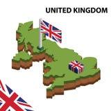 Mapa da informação e bandeira isométricos gráficos de REINO UNIDO ilustra??o isom?trica do vetor 3d ilustração royalty free