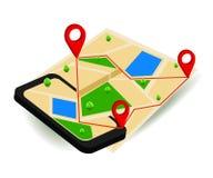 Mapa da navegação de GPS e marcador móveis do pino com dispositivo digital moderno ilustração royalty free